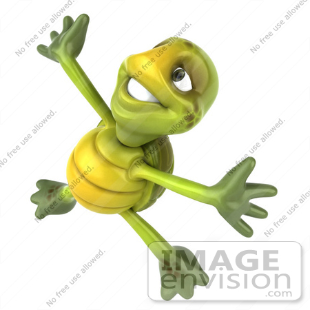 #43081 Royalty-Free (RF) Cartoon Clipart of a 3d Turtle Mascot Doing A Happy Dance - Version 3 by Julos