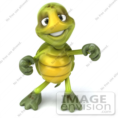 #43091 Royalty-Free (RF) Cartoon Clipart of a 3d Turtle Mascot Doing A Happy Dance - Version 2 by Julos