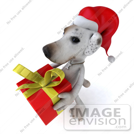 #43094 Royalty-Free (RF) Clipart Illustration of a 3d Jack Russell Terrier Dog Mascot Carrying A Christmas Gift - Pose 1 by Julos