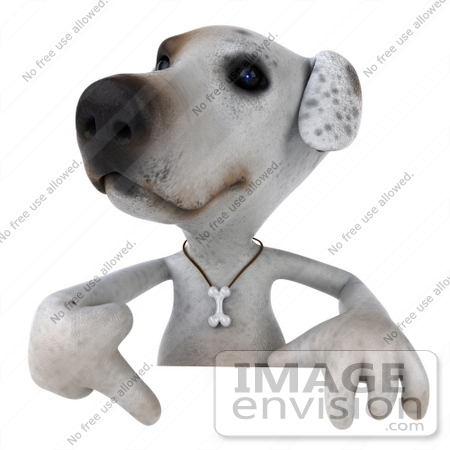 #43101 Royalty-Free (RF) Clipart Illustration of a 3d Jack Russell Terrier Dog Mascot Pointing Down At And Standing Behind A Sign by Julos