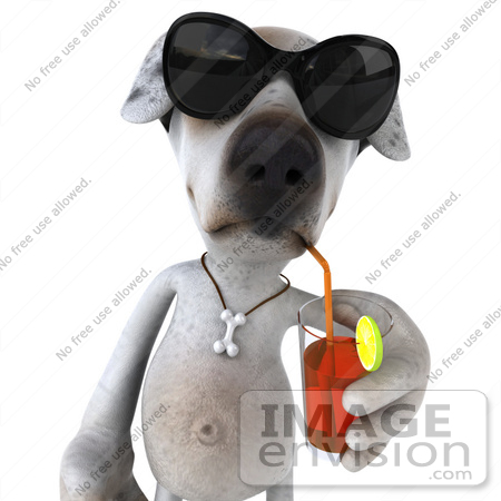 #43111 Royalty-Free (RF) Clipart Illustration of a 3d Jack Russell Terrier Dog Mascot Wearing Sunglasses And Sipping a Drink - Pose 1 by Julos