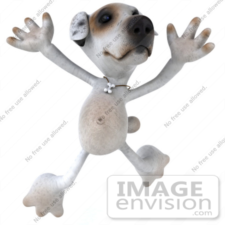 #43120 Royalty-Free (RF) Clipart Illustration of a 3d Jack Russell Terrier Dog Mascot Jumping by Julos