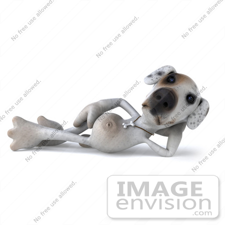 #43134 Royalty-Free (RF) Clipart Illustration of a 3d Jack Russell Terrier Dog Mascot Resting by Julos