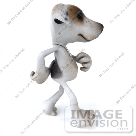 #43135 Royalty-Free (RF) Clipart Illustration of a 3d Jack Russell Terrier Dog Mascot Walking To The Right by Julos