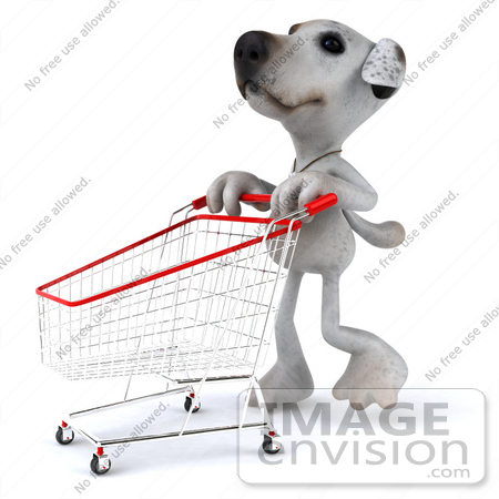 #43154 Royalty-Free (RF) Clipart Illustration of a 3d Jack Russell Terrier Dog Mascot Pushing A Shopping Cart - Pose 2 by Julos