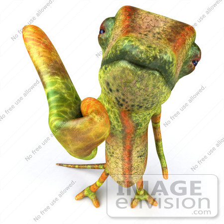 #43162 Royalty-Free (RF) Clipart Illustration of a 3d Lizard Chameleon Mascot Giving The Thumbs Up by Julos