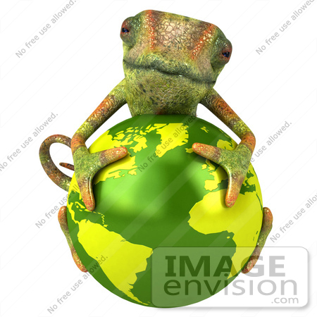 #43164 Royalty-Free (RF) Clipart Illustration of a 3d Lizard Chameleon Mascot Resting On Top Of A Globe by Julos