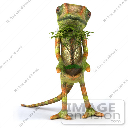 #43166 Royalty-Free (RF) Clipart Illustration of a 3d Lizard Chameleon Mascot Facing Front And Holding A Plant by Julos