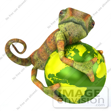 #43168 Royalty-Free (RF) Clipart Illustration of a 3d Lizard Chameleon Mascot Hugging A Globe by Julos