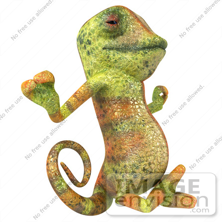 #43169 Royalty-Free (RF) Clipart Illustration of a 3d Lizard Chameleon Mascot Meditating - Pose 2 by Julos