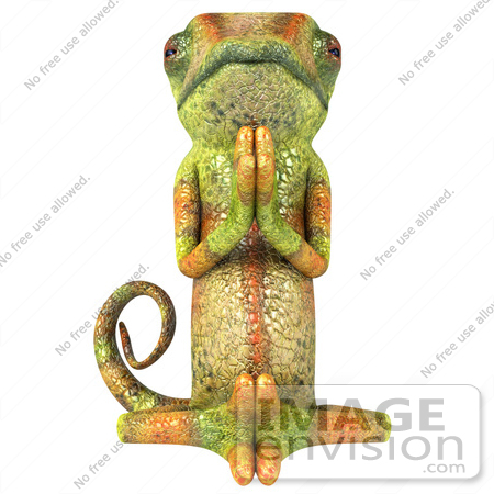 #43170 Royalty-Free (RF) Clipart Illustration of a 3d Lizard Chameleon Mascot Meditating - Pose 3 by Julos