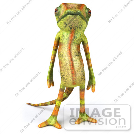 #43175 Royalty-Free (RF) Clipart Illustration of a 3d Lizard Chameleon Mascot Standing And Facing Front by Julos