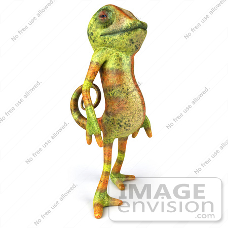 #43176 Royalty-Free (RF) Clipart Illustration of a 3d Lizard Chameleon Mascot Standing And Facing Right by Julos