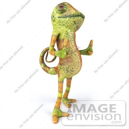 #43177 Royalty-Free (RF) Clipart Illustration of a 3d Lizard Chameleon Mascot Facing Right And Giving Two Thumbs Up by Julos