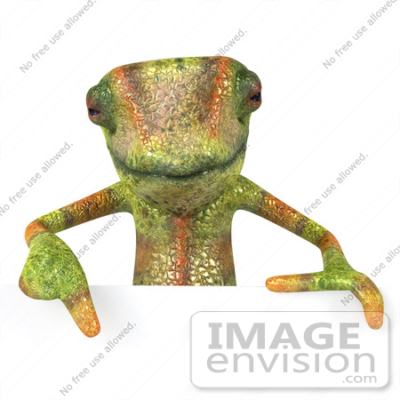 #43179 Royalty-Free (RF) Clipart Illustration of a 3d Lizard Chameleon Mascot Pointing Down To And Standing Behind A Blank Sign by Julos