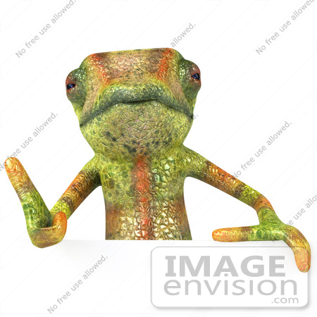 #43180 Royalty-Free (RF) Clipart Illustration of a 3d Lizard Chameleon Mascot Giving The Thumbs Up And Standing Behind A Blank Sign by Julos