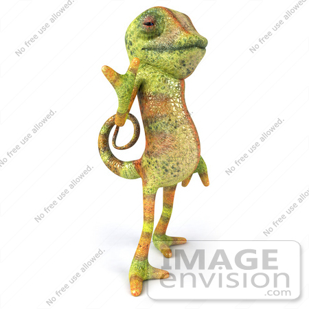 #43182 Royalty-Free (RF) Clipart Illustration of a 3d Lizard Chameleon Mascot Flashing A Peace Gesture by Julos