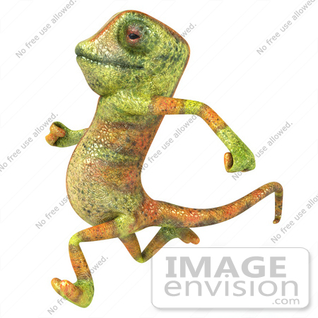 #43183 Royalty-Free (RF) Clipart Illustration of a 3d Lizard Chameleon Mascot Running Left by Julos