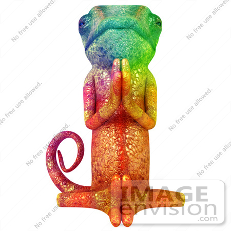 #43186 Royalty-Free (RF) Illustration of a 3d Rainbow Colored Chameleon Lizard Mascot Meditating - Pose 1 by Julos