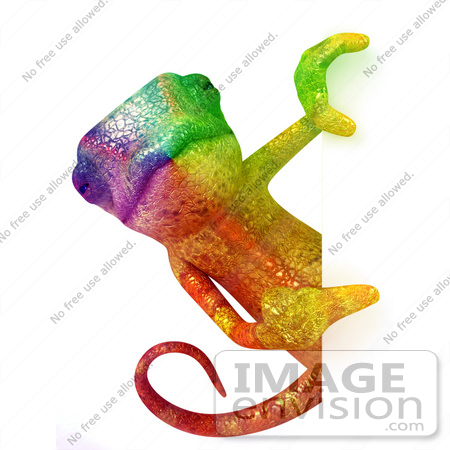 #43188 Royalty-Free (RF) Illustration of a 3d Rainbow Colored Chameleon Lizard Mascot Looking Around A Blank Sign by Julos