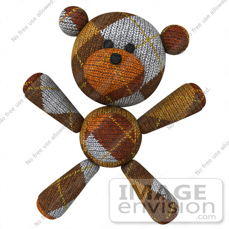 #43195 Royalty-Free (RF) Illustration of a 3d Knitted Teddy Bear Mascot Facing Forward And Doing Jumping Jacks by Julos