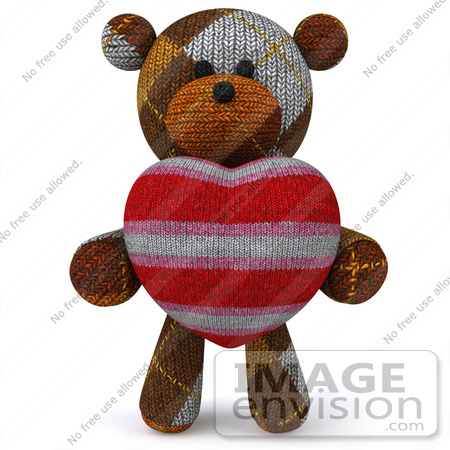 #43216 Royalty-Free (RF) Illustration of a 3d Knitted Teddy Bear Mascot Holding A Stuffed Heart - Pose 1 by Julos