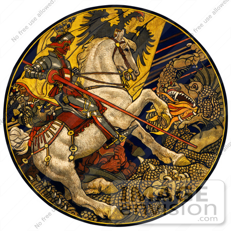 #43223 RF Illustration Of A Knight On A White Horse, Battling A Dragon Under An Austro-Hungarian Banner by JVPD