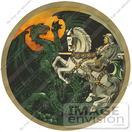 #43224 RF Illustration Of A Knight On A White Horse, Battling A Green Dragon by JVPD