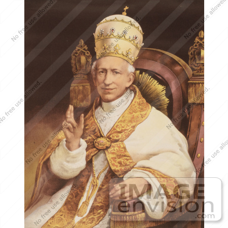 #43228 RF Illustration Of A Portrait Of Pope Leo Xiii Sitting In A Chair by JVPD