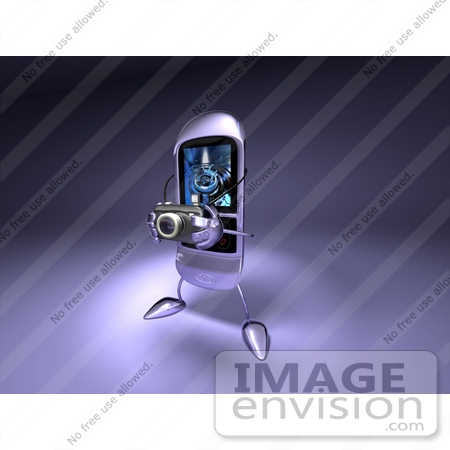 #43257 Royalty-Free (RF) Illustration of a Rounded 3d Cellphone Taking Pictures With A Camera by Julos