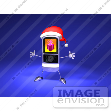 #43259 Royalty-Free (RF) Illustration of a 3d Cell Phone Holding Its Arms Out And Wearinga  Santa Hat by Julos