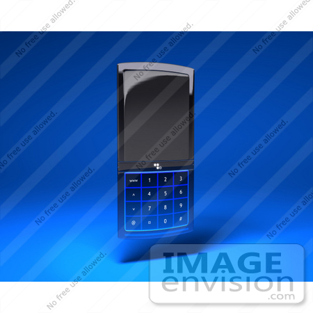 #43262 Royalty-Free (RF) Illustration of a 3d Modern Blue Cell Phone - Version 3 by Julos