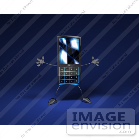 #43270 Royalty-Free (RF) Clipart Illustration of a Slim 3d Cellular Phone Holding Its Arms Out - Version 3 by Julos