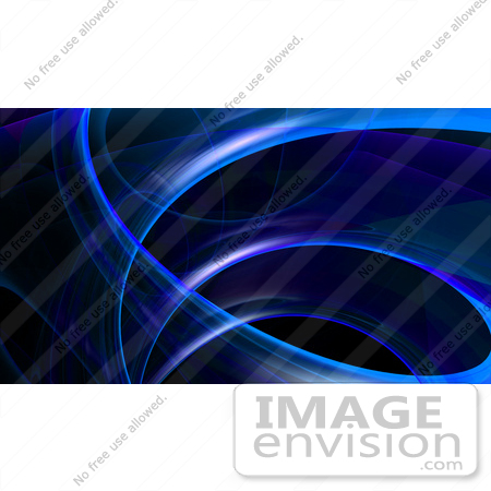 #43286 Royalty-Free (RF) Illustration of a Blue Fractal Swoosh Background On Black, Version 3 by Julos