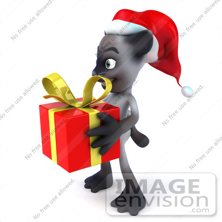 #43362 Royalty-Free (RF) Clipart Illustration of a 3d Siamese Cat Mascot In A Santa Hat, Carrying A Gift - Pose 4 by Julos