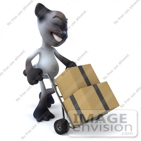 #43376 Royalty-Free (RF) Clipart Illustration of a 3d Siamese Cat Mascot Moving Boxes On A Dolly - Pose 2 by Julos