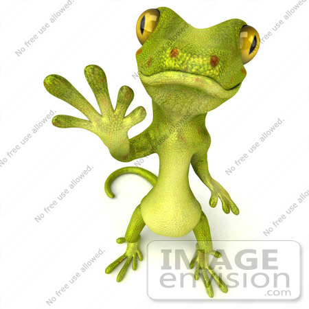 #43382 Royalty-Free (RF) Illustration of a 3d Green Gecko Mascot Standing And Waving - Version 2 by Julos