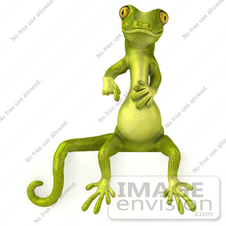 #43389 Royalty-Free (RF) Illustration of a 3d Green Gecko Mascot Sitting On And Pointing Down At A Blank Sign by Julos