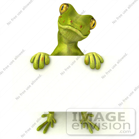 #43391 Royalty-Free (RF) Illustration of a 3d Green Gecko Mascot Holding A Blank Sign - Pose 3 by Julos