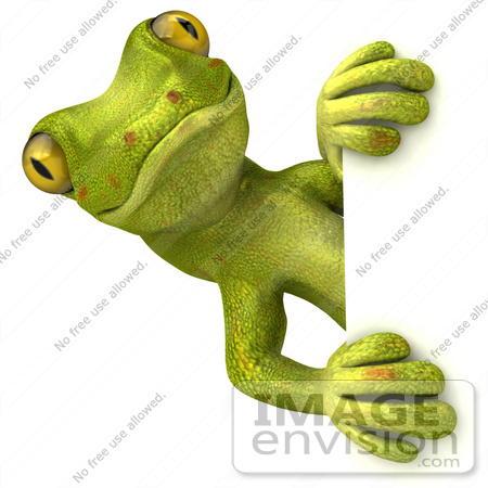 #43393 Royalty-Free (RF) Illustration of a 3d Green Gecko Mascot Looking Around A Blank Sign - Pose 1 by Julos