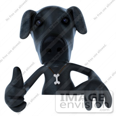 #43414 Royalty-Free (RF) Illustration of a 3d Black Lab Mascot Giving The Thumbs Up And Standing Behind A Blank Sign by Julos