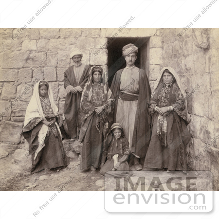 #43448 RF Stock Photo Of A Sepia Toned Portrait Of A Ramallah Family Near A Doorway by JVPD