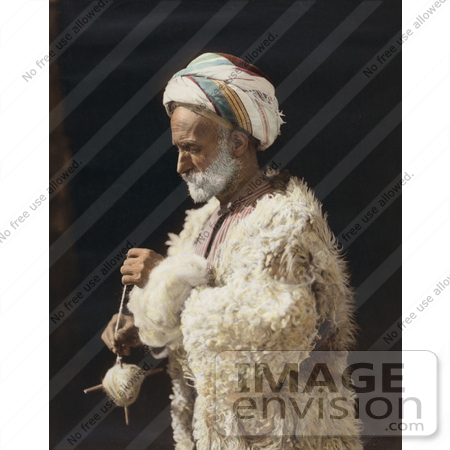 #43464 RF Stock Photo Of A Ramallah Peasant Man Standing And Spinning Wool by JVPD