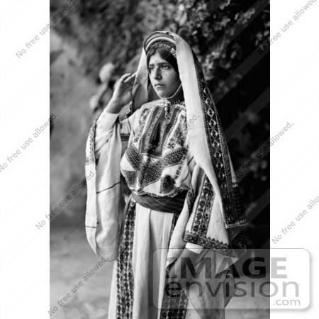 #43467 RF Stock Photo Of A Pretty Ramallah Woman In Black And White by JVPD