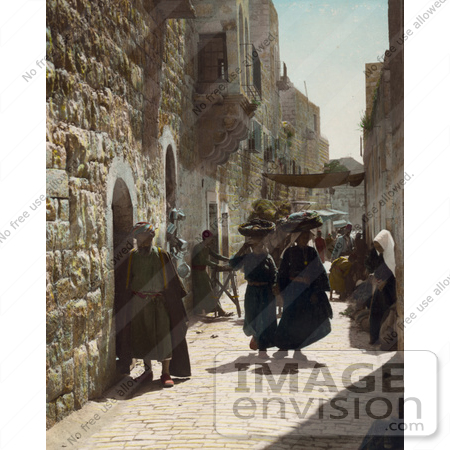 #43470 RF Stock Photo Of People In An Alley Leading To The Church Of The Nativity, Bethlehem by JVPD