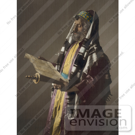 #43474 RF Stock Photo Of A Jerusalem Rabbi Man Holding A Scroll And Phylacteries by JVPD
