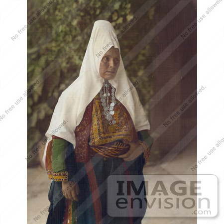 #43482 RF Stock Photo Of An Arab Woman Wearing Dowry Necklace And Traditional Clothing by JVPD