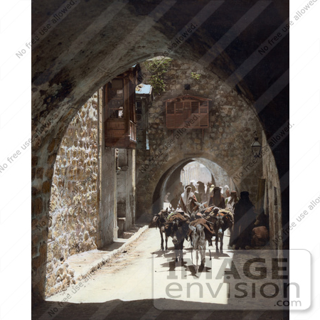 #43486 RF Stock Photo Of A Street Scene With Arches In Old City, Jerusalem, Israel by JVPD