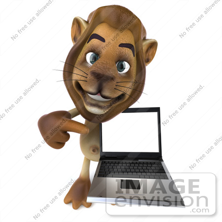 #43536 Royalty-Free (RF) Illustration of a 3d Lion Mascot Presenting A Laptop - Pose 3 by Julos