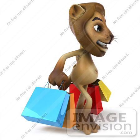 #43540 Royalty-Free (RF) Illustration of a 3d Lion Mascot Carrying Shopping Bags - Pose 1 by Julos